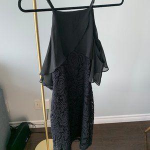 Black lace body-con dress